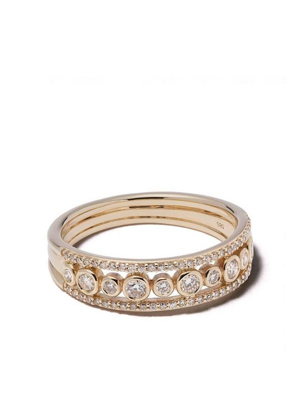Astley Clarke 14kt gold diamond Triple Icon Nova ring