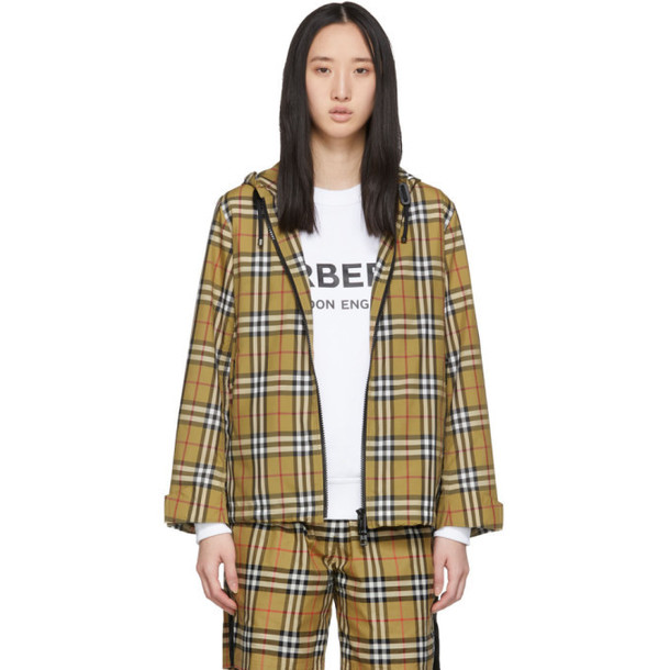 Burberry Beige Vintage Check Lightweight Hooded Jacket