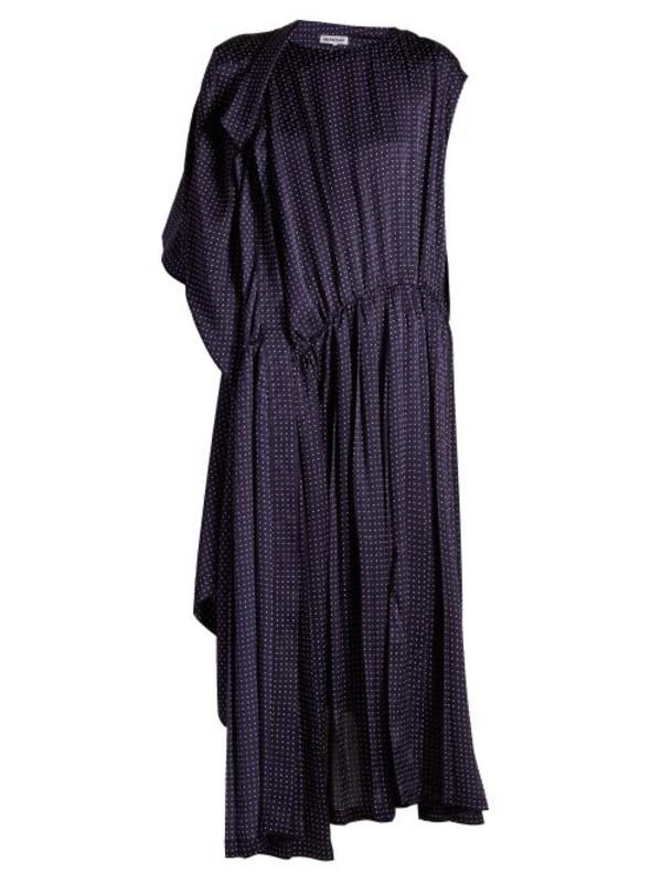 67a9887b4b2 Balenciaga - Pleated Floral Print Satin Dress - Womens - Blue Multi.   4100 2050