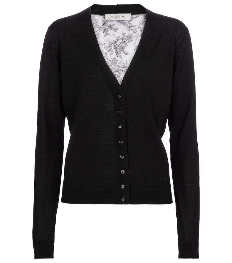 Valentino lace-trimmed wool cardigan in black