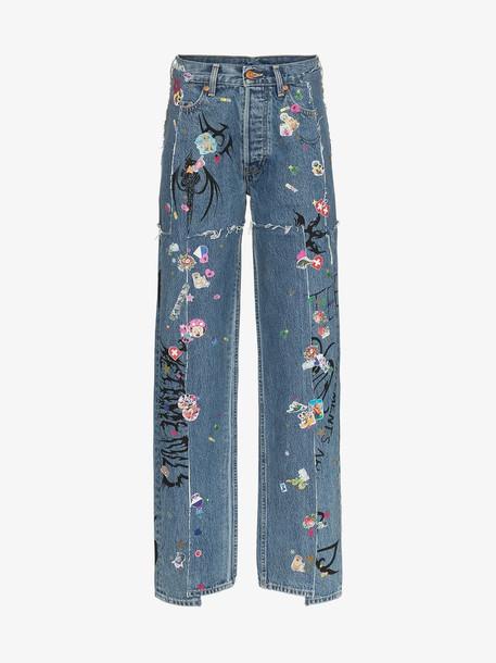 Vetements high rise sticker print slim jeans