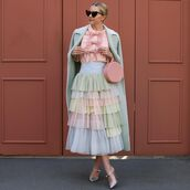 top,shirt,bow,atlantic pacific,tulle skirt,mules,long coat,pink bag