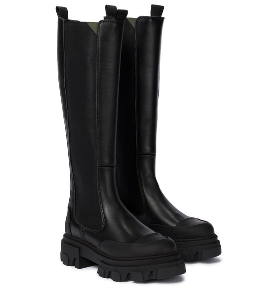 Ganni Exclusive to Mytheresa – Leather knee-high boots in black