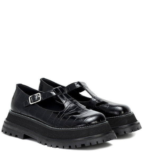 Burberry Aldwych croc-effect leather flats in black