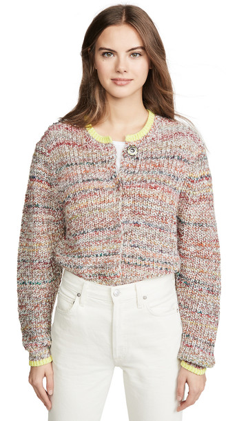 Free People Walk On By Cardigan in ivory / multi