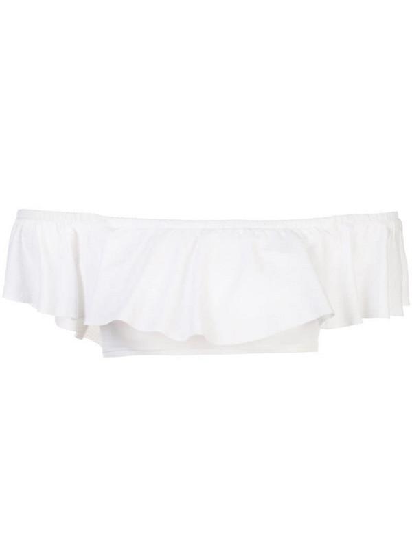 Kiki de Montparnasse off the shoulder swim top in white
