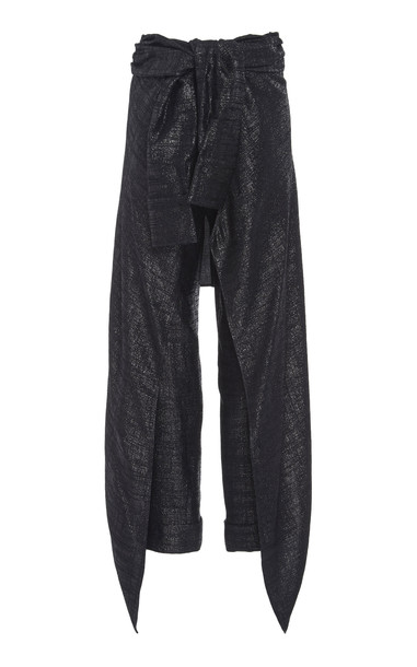 Hellessy Avedon Lame Cropped Pants Size: 6 in black