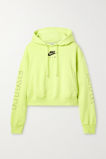Nike - Air Neon Printed Cotton-blend Jersey Hoodie - Bright green