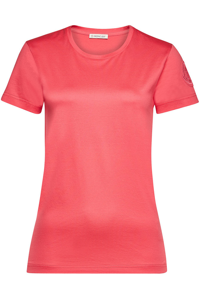 Moncler Cotton T-Shirt with Logo  in magenta