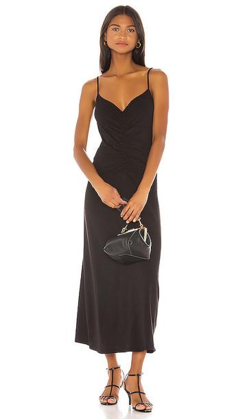 FRAME Ruched Cami Dress in Black