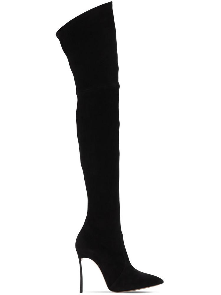 CASADEI 100mm Blade Stretch Suede Boots in black