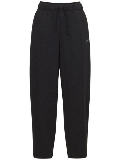 NIKE Medium Rise Cotton Blend Cargo Pants in black