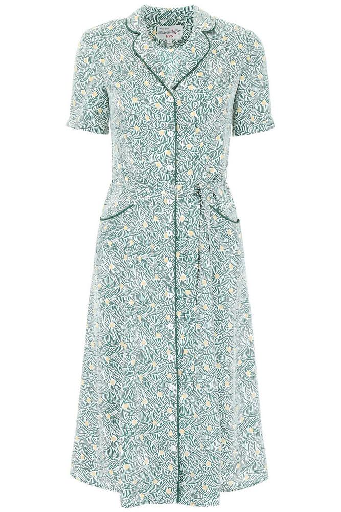 HVN Maria Silk Dress in green