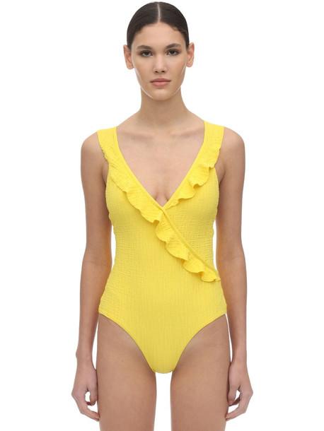 ALBERTINE Pina Ruffled Textured One Piece Swimsuit in yellow