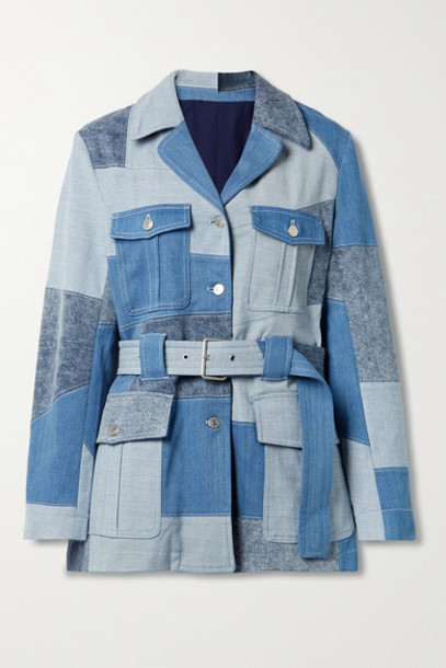 Stella McCartney - Net Sustain Belted Patchwork Organic Denim Jacket - Mid denim