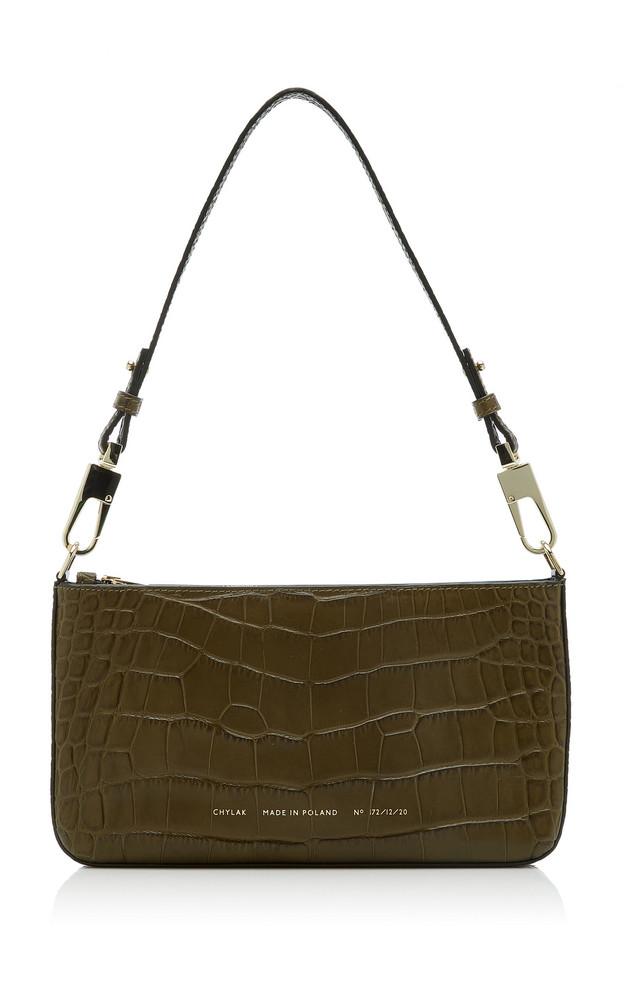 Chylak Croc-Effect Leather Shoulder Bag in green