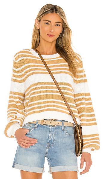 Seafolly Sails Stripe Sweater in Tan in beige
