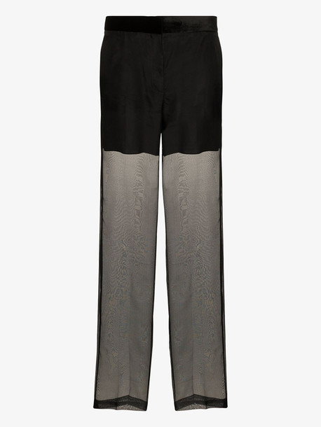 Helmut Lang sheer organza trousers in black
