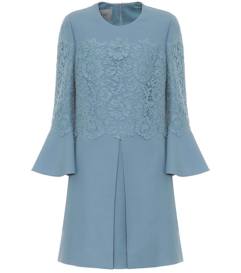 Valentino Wool and silk crêpe minidress in blue