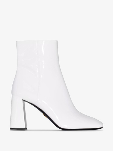 Prada White patent leather 85 ankle boots