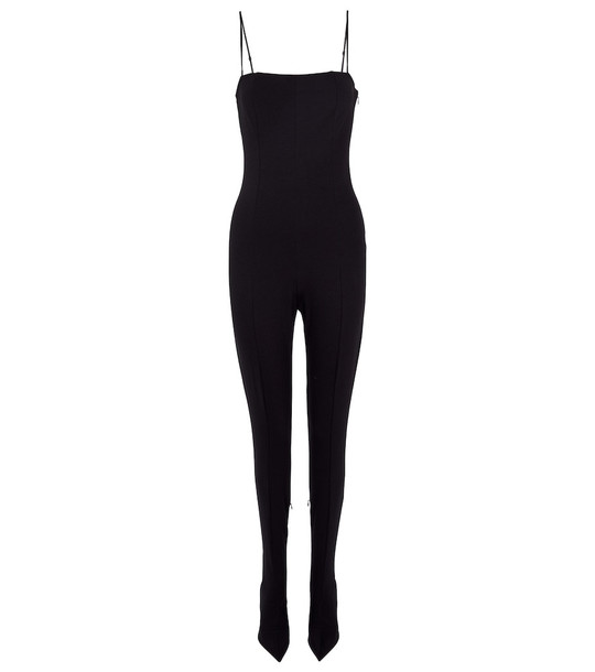 Wolford x Amina Muaddi jersey jumpsuit with shoes in black