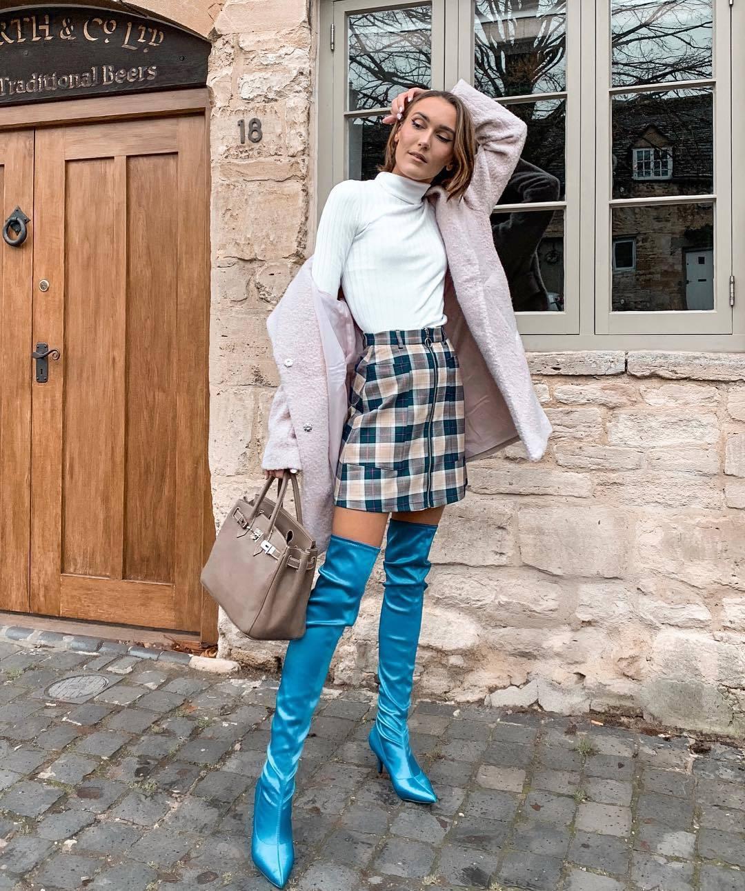 shoes over the knee boots blue boots heel boots sock boots plaid skirt mini skirt handbag white turtleneck top coat