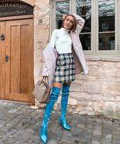 shoes,over the knee boots,blue boots,heel boots,sock boots,plaid skirt,mini skirt,handbag,white turtleneck top,coat