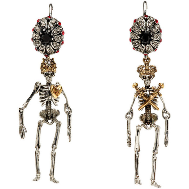 Alexander McQueen Silver and Gold Queen And King Earrings
