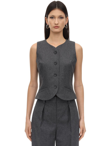 LESYANEBO Cropped Wool Twill Vest in grey