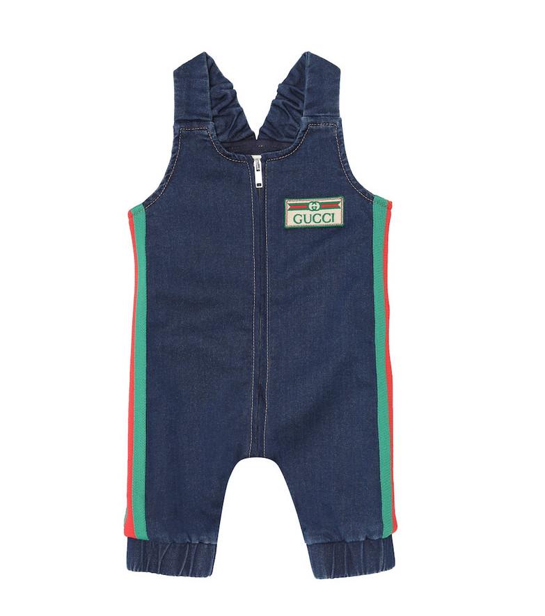 Gucci Kids Baby stretch-denim playsuit in blue