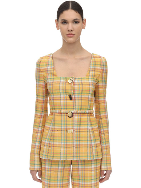 REJINA PYO Martina Cotton Blend Jacket in yellow / multi