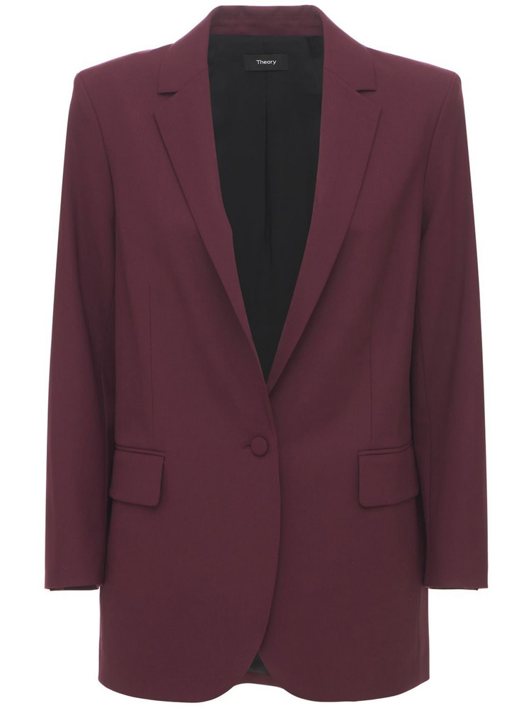 THEORY Tracea Wool Casual Blazer in burgundy