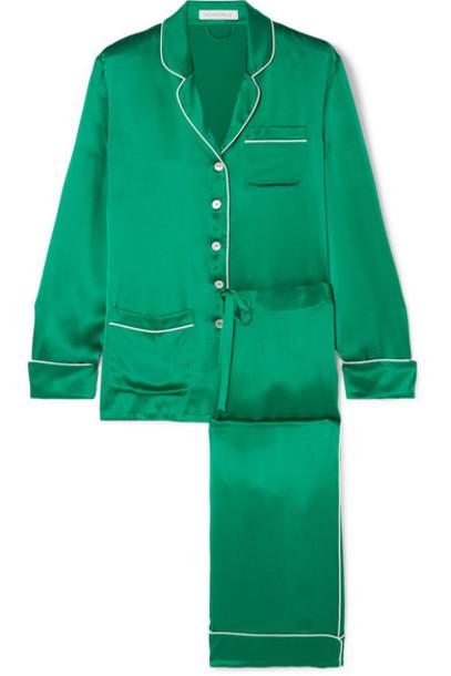 Olivia von Halle - Coco Silk-satin Pajama Set - Forest green