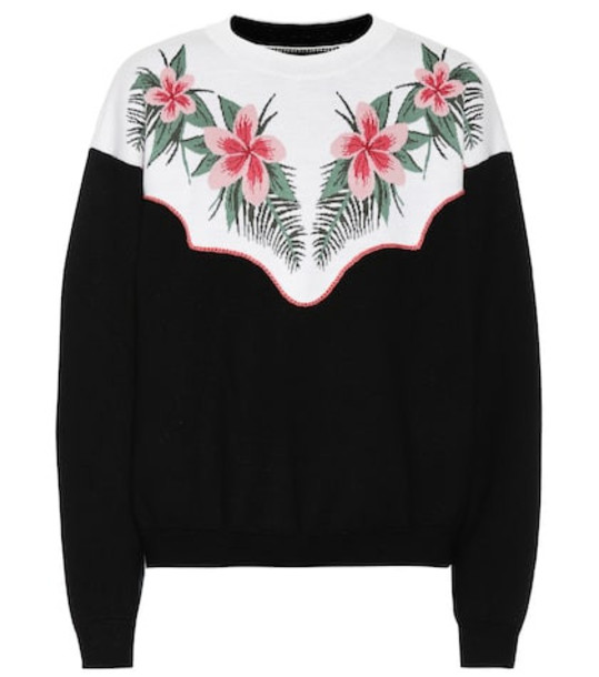 Alanui Tropical Flowers wool-blend sweater in black