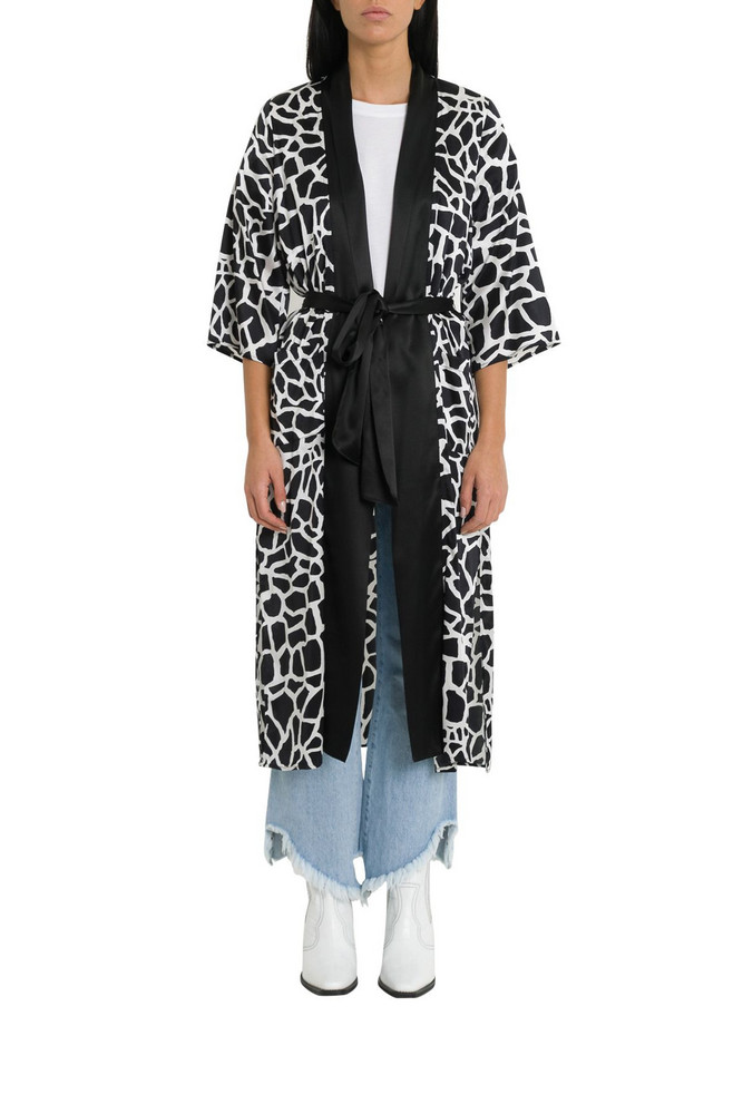 Federica Tosi Animalier Silk Tunic With Belt in nero / bianco