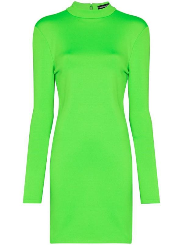 Kwaidan Editions long sleeve mini dress in green
