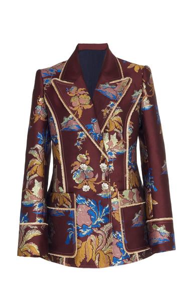 Peter Pilotto Metallic Floral Jacquard Blazer Size: 12 in burgundy