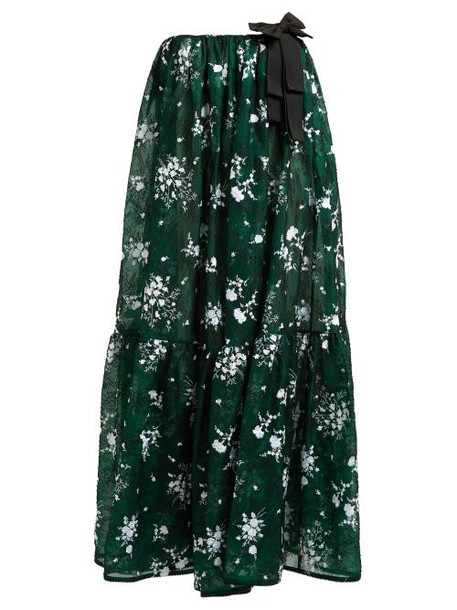 Erdem - Theona Tiered Floral Chantilly Lace Gown - Womens - Green Multi