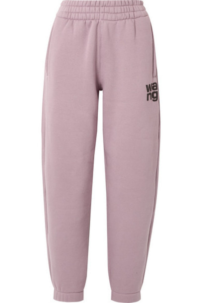 alexanderwang.t - Printed Cotton-blend Fleece Track Pants - Lilac