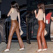 leggings,kendall jenner,leather,pants,brown