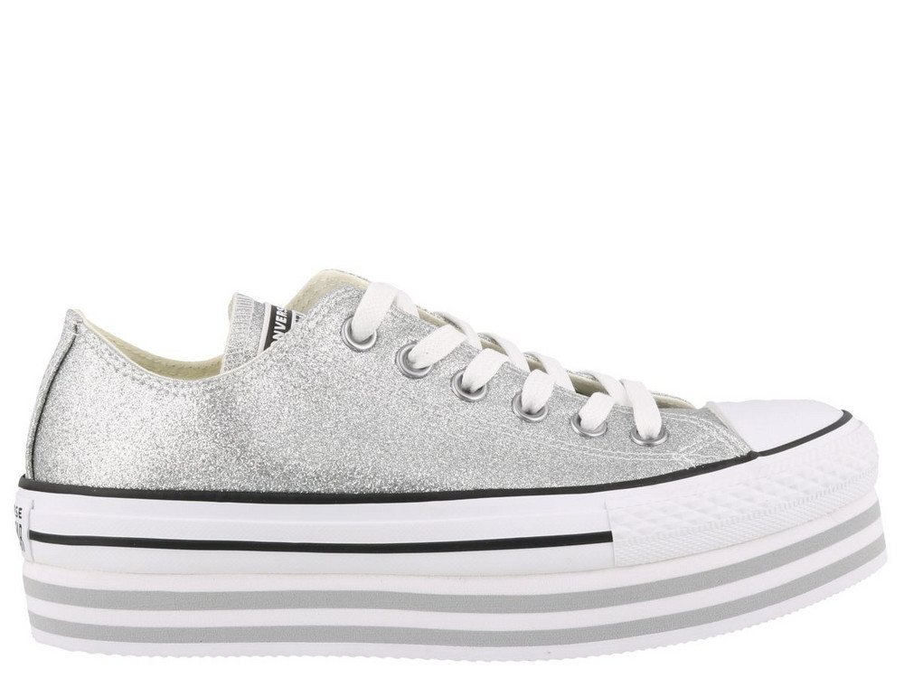 Converse Chuck Taylor Platform Sneakers in silver / white