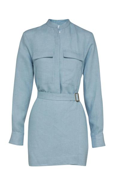 Bondi Born Utility Linen Mini Dress Size: S in blue