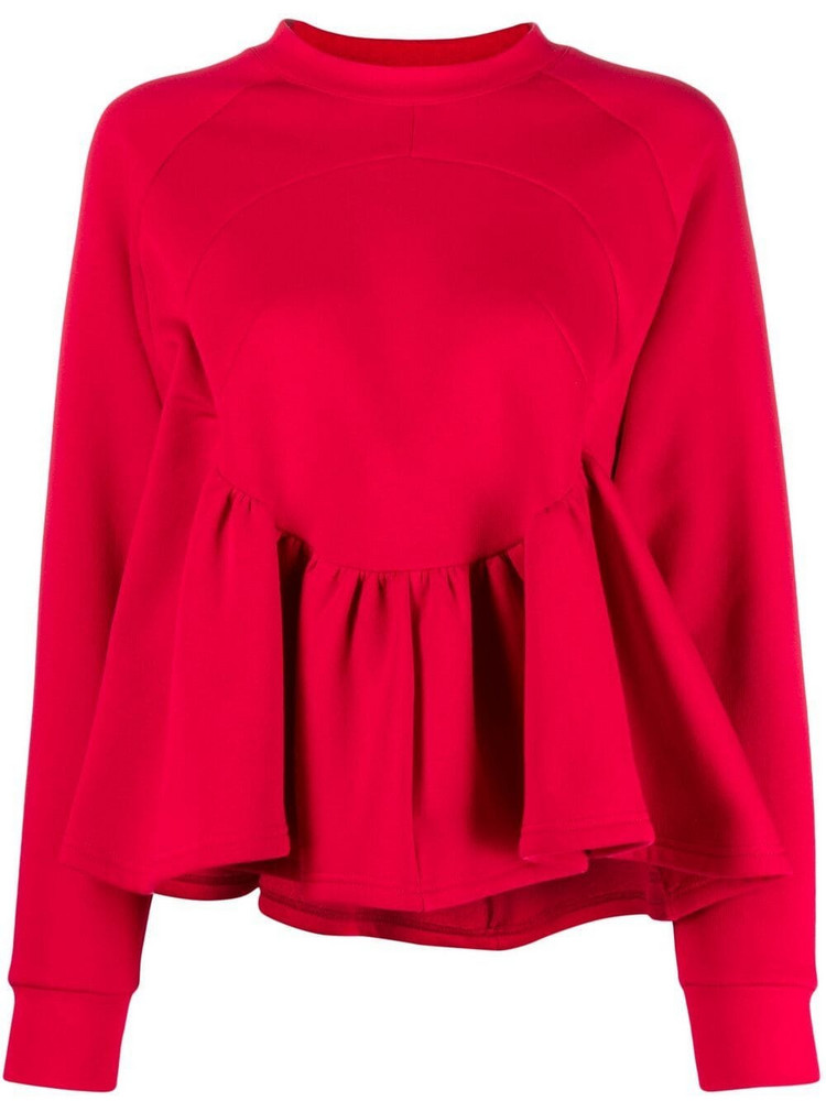 Atu Body Couture flared long-sleeved blouse in red