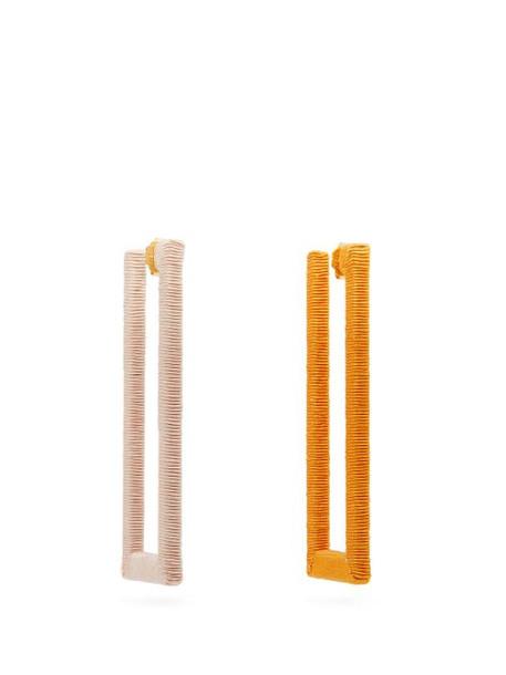 Rebecca De Ravenel - Geo Mismatched Cord Earrings - Womens - Orange