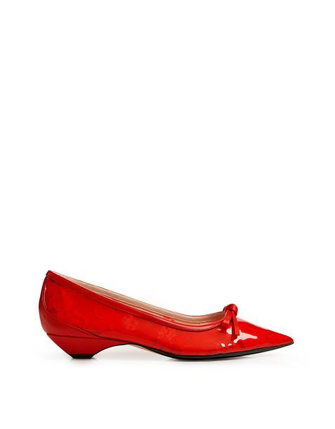 No.21 Pointed Lace PVC Ballerina Kitten Heeled Pumps Red