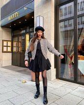 sweater,cardigan,black dress,mini dress,black boots,tights,beret,black bag