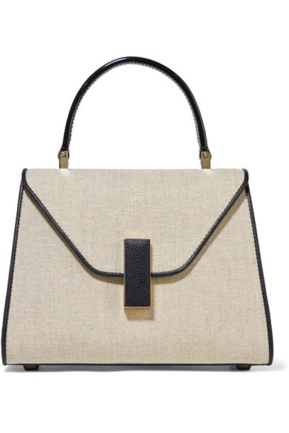 Valextra - Easy Day Mini Linen And Textured-leather Shoulder Bag - Beige