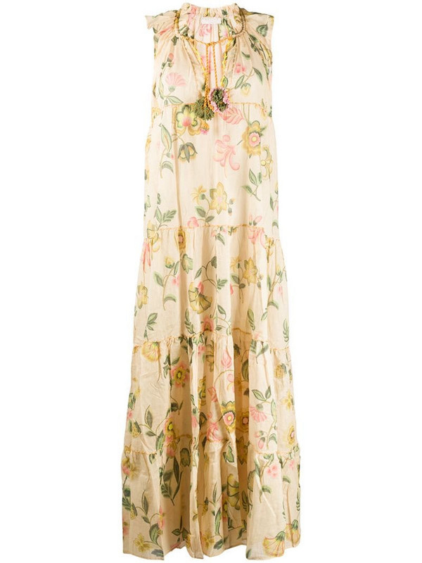 Anjuna Ludovica floral-print tiered dress in neutrals