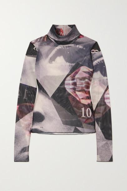 16ARLINGTON - Ashley Printed Stretch-tulle Turtleneck Top - Black
