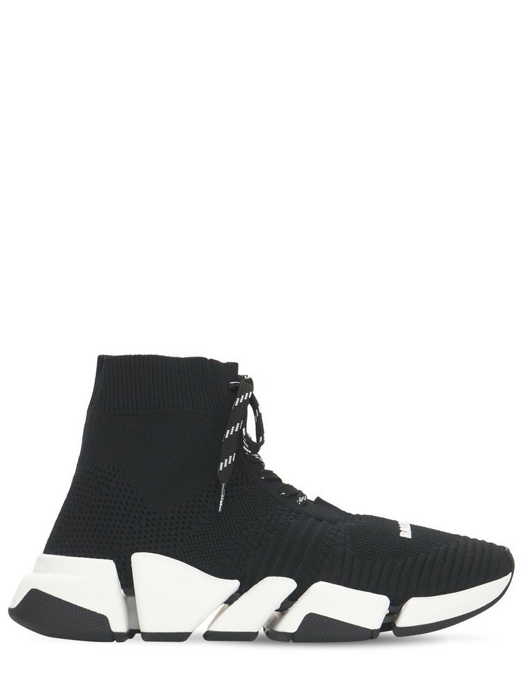 BALENCIAGA 30mm Speed 2.0 Knit Sneakers in black / white